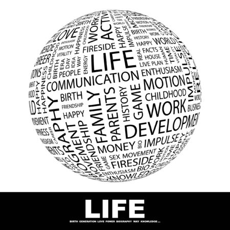 LIFE. Globe with different association terms.   photo