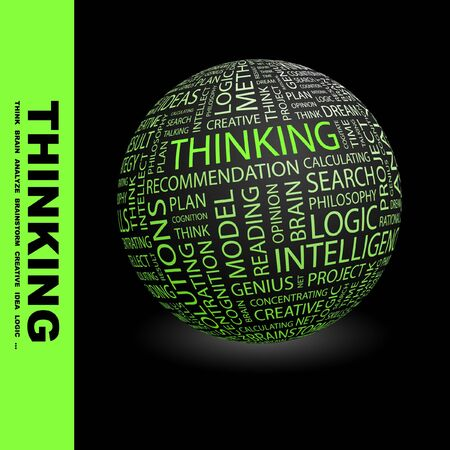 THINKING. Globe with different association terms. Stock Photo - 8238970