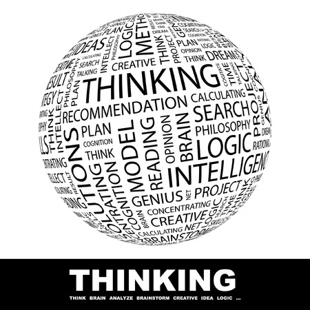thinking icon: THINKING. Globe with different association terms. Collage with word cloud. Stock Photo