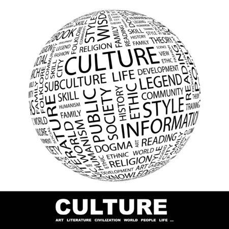 humanisme: CULTURE. Globe avec association diff�rents termes.   Banque d'images