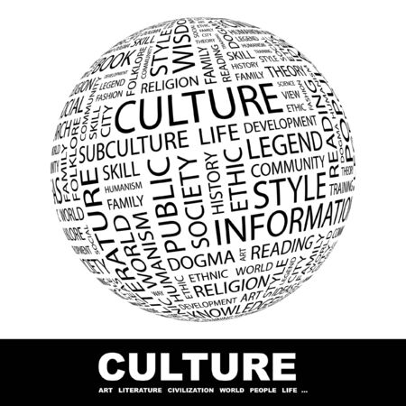 CULTURE. Globe with different association terms.