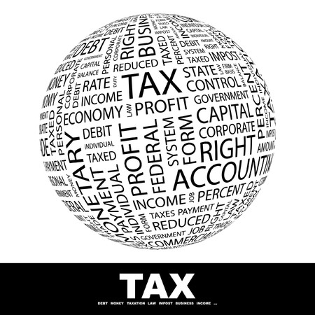 accounting icon: TAX. Globe with different association terms.