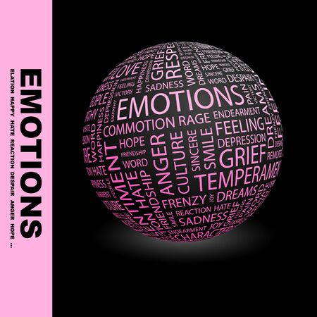 EMOTIONS. Globe with different association terms.