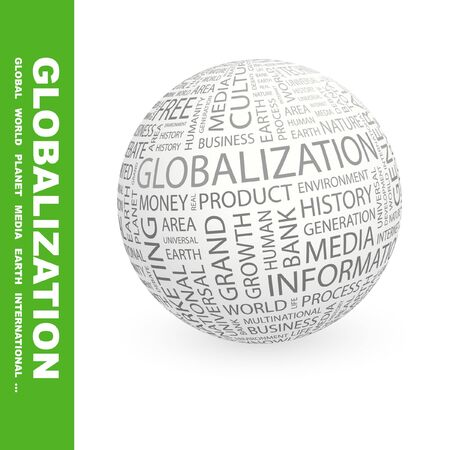 GLOBALIZATION. Globe with different association terms.   photo