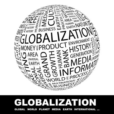 keywords bubble: GLOBALIZATION. Globe with different association terms.   Stock Photo