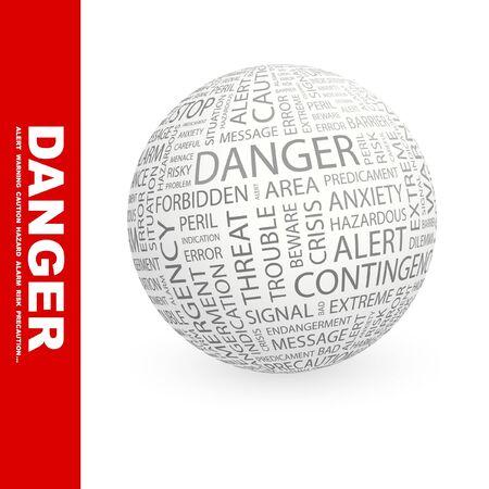 endangerment: DANGER. Globe with different association terms.