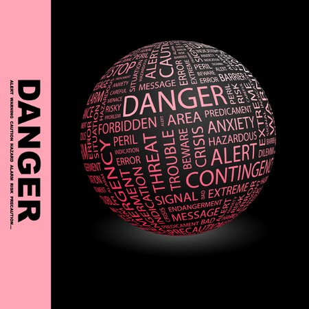 endangerment: DANGER. Globe with different association terms. Collage with word cloud.