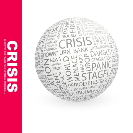 endangerment: CRISIS. Globe with different association terms.