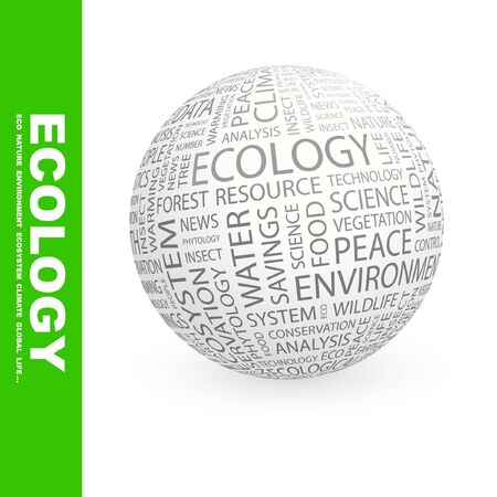 ECOLOGY. Globe with different association terms.   photo
