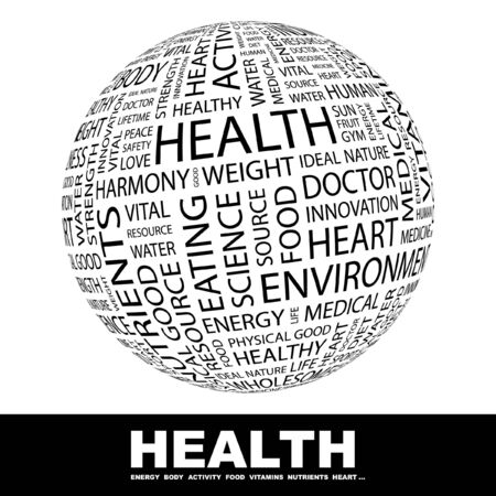 HEALTH. Globe with different association terms. Collage with word cloud. photo