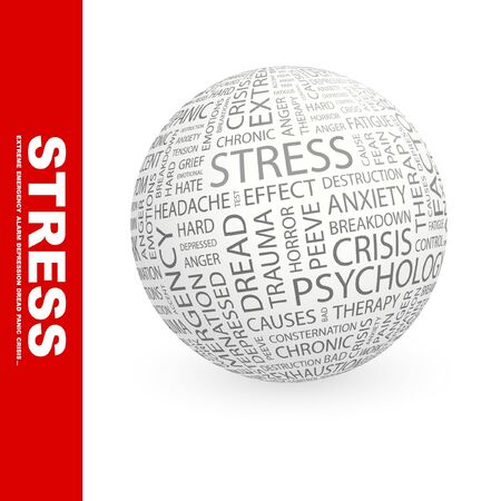 peeve: STRESS. Globe with different association terms. Collage with word cloud.