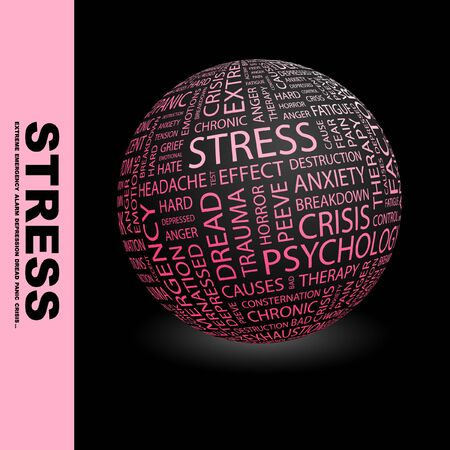 peeve: STRESS. Globe with different association terms.   Stock Photo