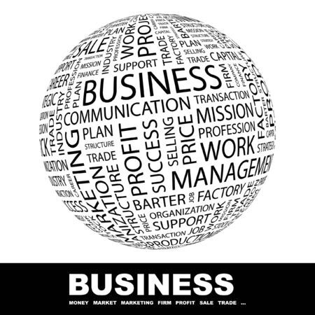 barter: BUSINESS. Globe with different association terms. Collage with word cloud.