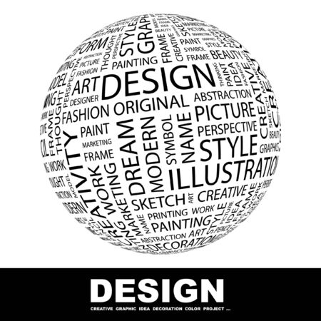 global thinking: DESIGN. Globe with different association terms. Collage with word cloud. Stock Photo