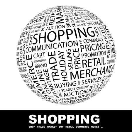 online trading: SHOPPING. Globe with different association terms.