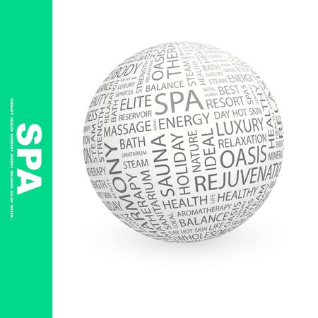 SPA. Globe with different association terms. Collage with word cloud. photo