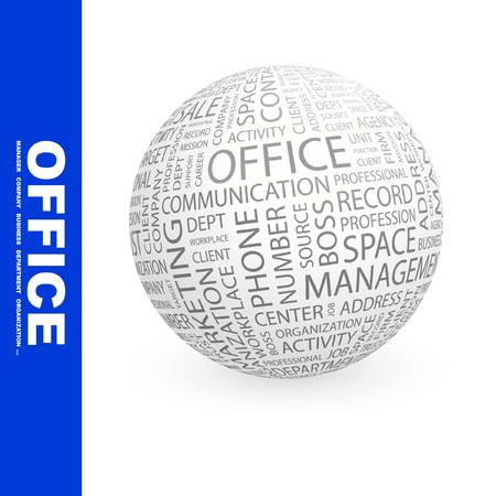 OFFICE. Globe with different association terms. Collage with word cloud. Stock Photo - 7994886
