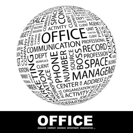 OFFICE. Globe with different association terms.   Stock Photo - 8301129