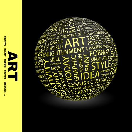 erudition: ART. Globe with different association terms. Collage with word cloud.