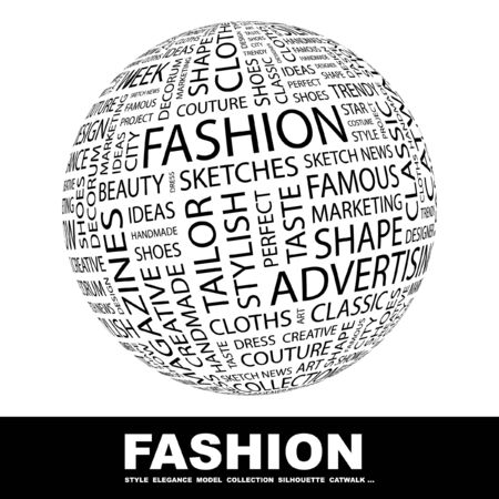 FASHION. Globe with different association terms. Collage with word cloud. photo