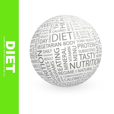 DIET. Globe with different association terms.   photo