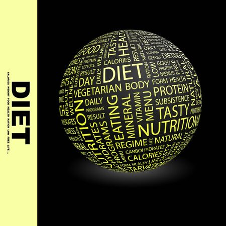 DIET. Globe with different association terms. Collage with word cloud. photo