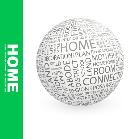 refinancing: HOME. Globe with different association terms.   Stock Photo