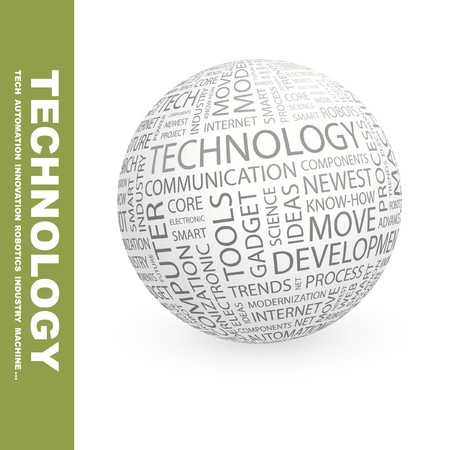 TECHNOLOGY. Globe with different association terms.   photo