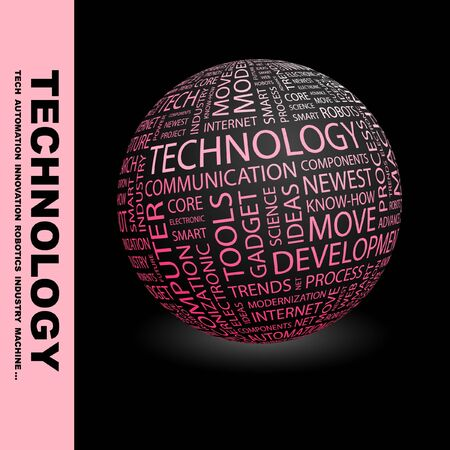 technology collage: TECHNOLOGY. Globe with different association terms. Collage with word cloud.