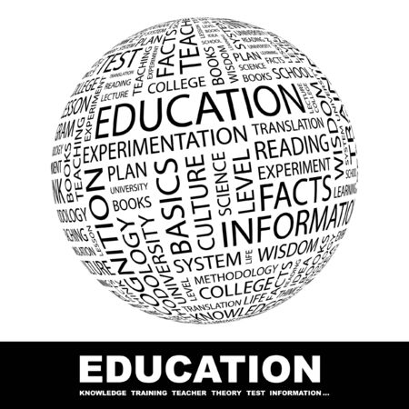 extramural: EDUCATION. Globe with different association terms. Collage with word cloud.