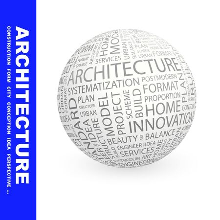 systematization: ARCHITECTURE. Globe with different association terms.