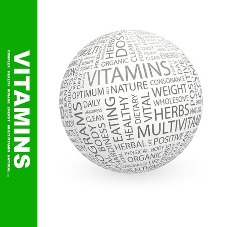 VITAMINS. Globe with different association terms. Collage with word cloud. Stock Photo - 7994923