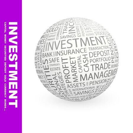 INVESTMENT. Globe with different association terms.   Stock Photo - 8301108