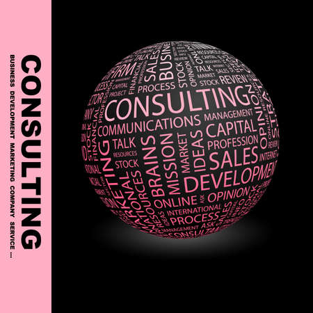 CONSULTING. Globe with different association terms.   photo