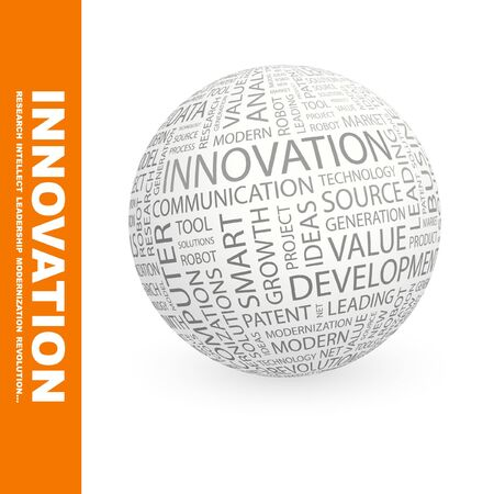 leading: INNOVATION. Globe with different association terms. Stock Photo