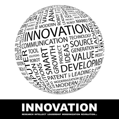 website words: INNOVATION. Globe with different association terms. Collage with word cloud. Stock Photo