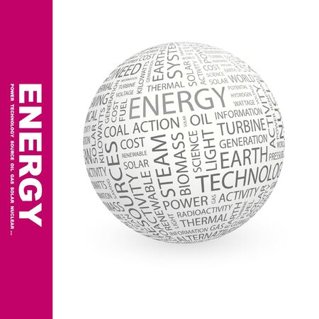 renewables: ENERGY. Globe with different association terms. Collage with word cloud.