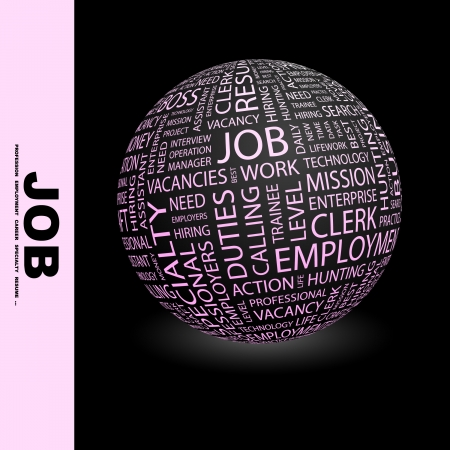 JOB. Globe with different association terms.   photo