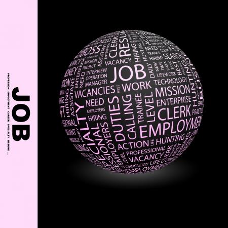 lifework: JOB. Globe with different association terms.