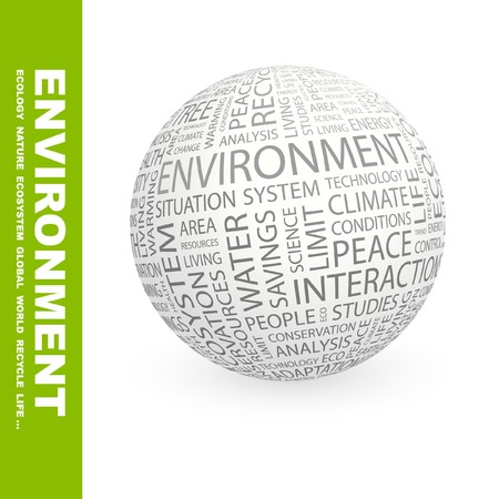 ENVIRONMENT. Globe with different association terms. Stock Photo - 8238043