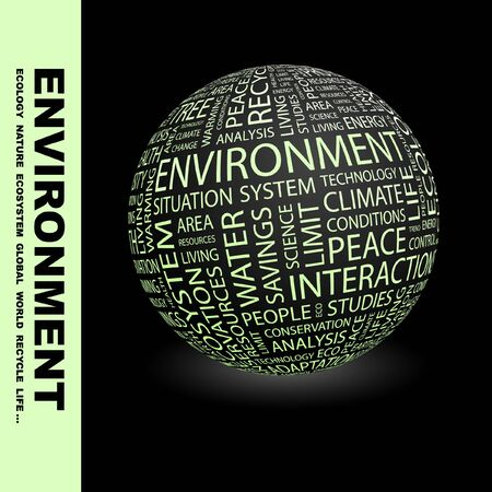 ENVIRONMENT. Globe with different association terms. Collage with word cloud. photo