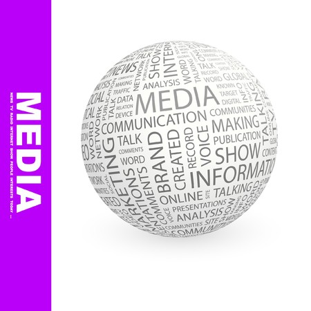 MEDIA. Globe with different association terms. Collage with word cloud. photo