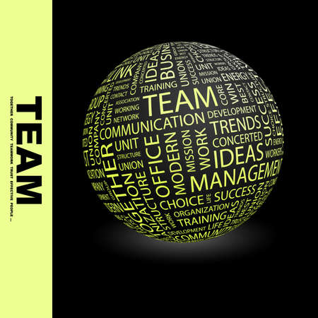 TEAM. Globe with different association terms. Stock Photo