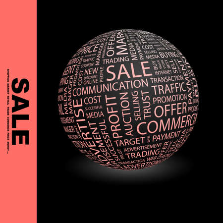 SALE. Globe with different association terms.   photo