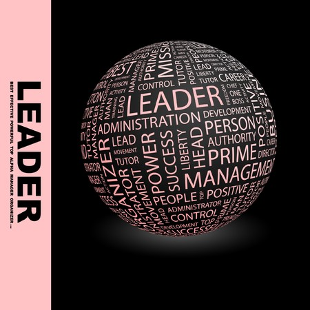 kingpin: LEADER. Globe with different association terms. Collage with word cloud.