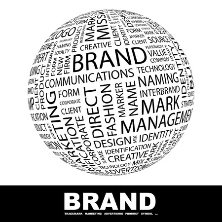 BRAND. Globe with different association terms. Collage with word cloud. Stock Photo - 7995176
