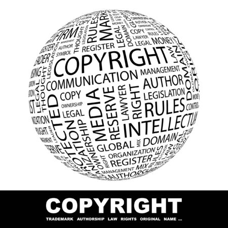 authorship: COPYRIGHT. Globe with different association terms.   Stock Photo