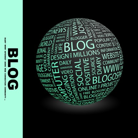 blogosphere: BLOG. Globe with different association terms. Collage with word cloud.