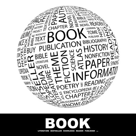 monograph: BOOK. Globe with different association terms. Collage with word cloud. Stock Photo