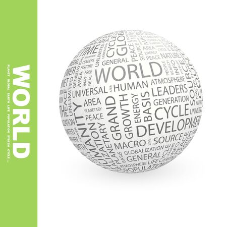 peace stamp: WORLD. Globe with different association terms.   Stock Photo